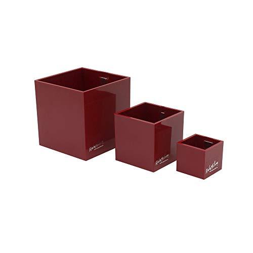 KalaMitica 60369-201-001 Set de 3 Cubes Magnétiques, résine ABS, Rouge, Diamètre 3,5 cm, 6 cm, 9 cm