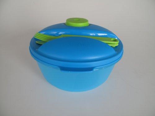 TUPPERWARE To Go Salat&Go 1,5L blau grün A157 Salat&Go + Besteck Picknick Salat