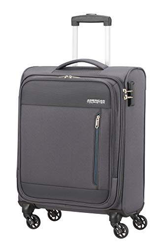 American Tourister Heat Wave Bagaglio a Mano, Spinner S (55 cm - 38 L), Charcoal Grey