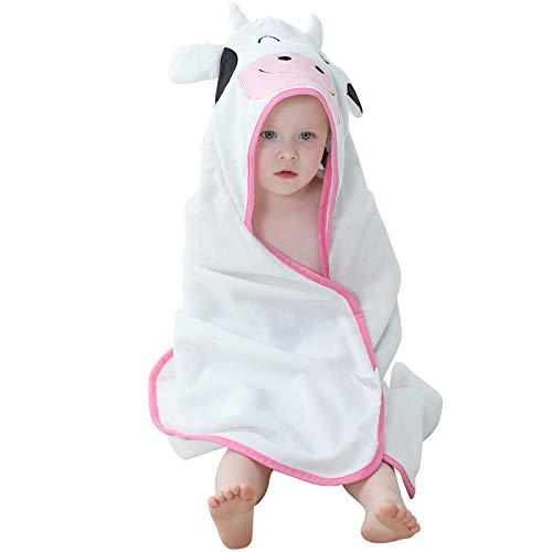 MICHLEY Accappatoio bambino incappucciato Asciugamano personalizzato per neonato in cotone naturale, 90x90 cm asciugamani per bambini 0-6T Bianca