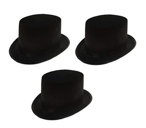 Sonnenscheinschuhe® Dreierpack: 3 x Zylinder Hut schwarz Fastnacht Fasching Karneval Kostüm schwarzer Zylinderhut