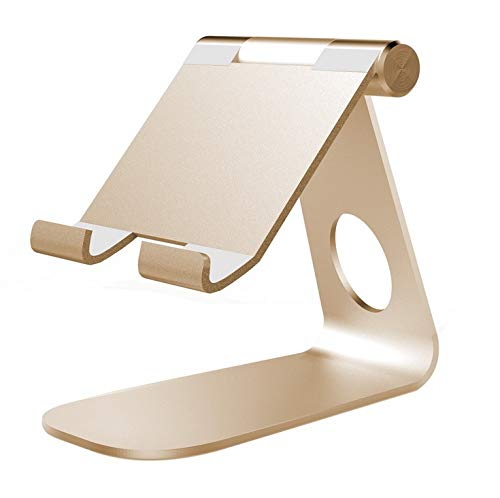 DishyKooker 270° Rotatable Foldable Aluminum Alloy Desktop Holder Tablet Stand for Sam-sung Galaxy Tab Pro S i-Pad Pro10.5 9.7' 12.9'' i-Pad Air Surface Pro 4 Ki-OSk POS Stand Gold