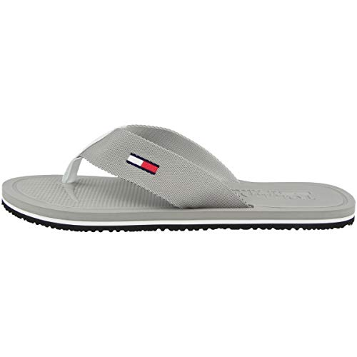 Tommy Jeans Herren Comfort Footbed Beach Sandal Zehentrenner, Grau (Antique Silver PRT), 41 EU