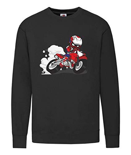 Druckerlebnis24 Pullover - Motocross Enduro Motorrad Charakter - Sweatshirt Unisex für Kinder - Junge und Mädchen