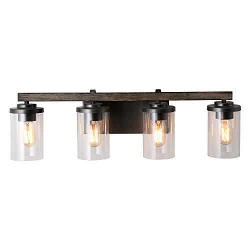 LALUZ Rustic Bathroom Vanity Clear Glass Farmhouse Wall Light Fixture, 4 Sources, Faux Wood