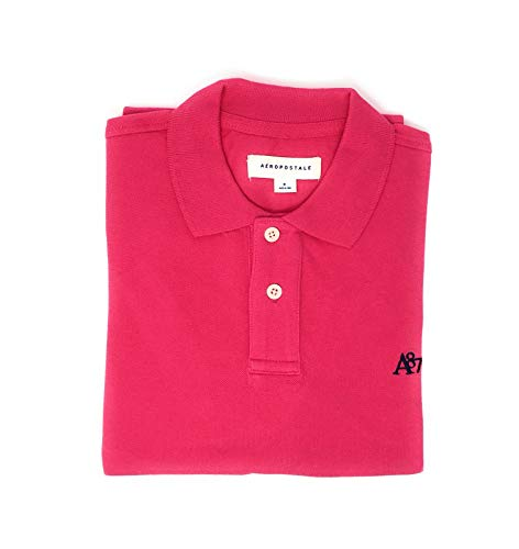 AEROPOSTALE Men's Solid Uniform Logo Rugby Polo Shirt (Large, Bright Pink)