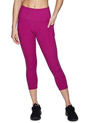 RBX Active Women's High Waisted Squat Proof Mesh Workout Yoga Running Capri Legging with Pockets Capri Mesh Magenta M
