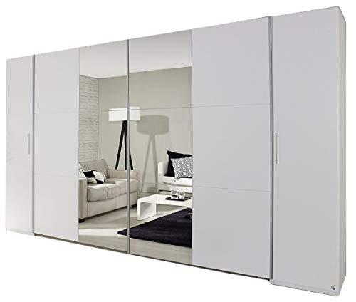 Dreh-/Schwebetürenschrank Nico weiß 4-TRG B 355 cm Jugend Schlafzimmer Drehtürenschrank Kleiderschrank Wäsche Spiegel Schiebetürenschrank