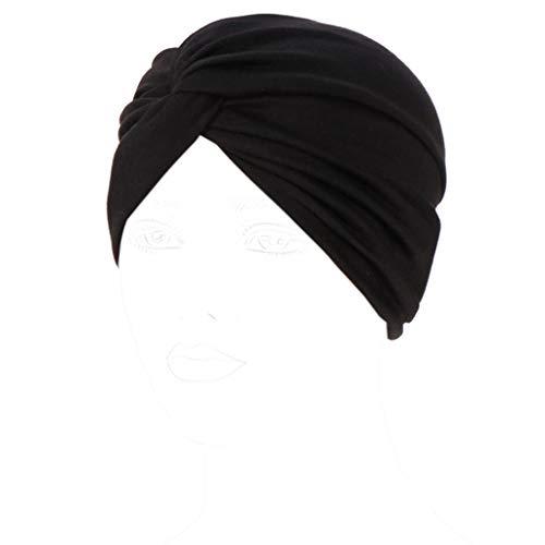 JERKKY Mujeres Nudo Torcedura Turbante Tapa de la Banda Sólido Color del Caramelo Plisado con Pliegues Elástico Otoño Invierno Cálido Indio Chemo Sombrero Que Cubre el Cabello Hijab Negro