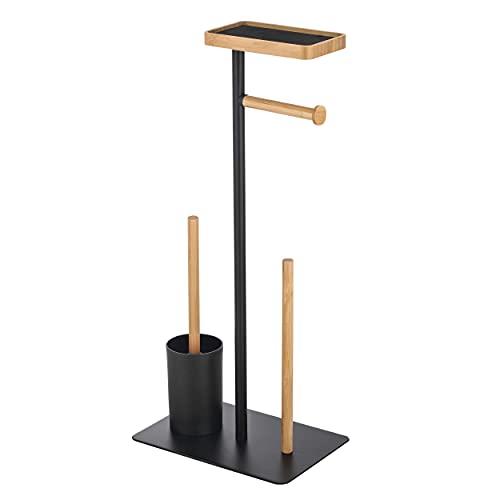 MSV Stand WC Garnitur WC Bürste Rollenhalter Toilettenbürste Klobürste Klopapierhalter aus Bambus Schwarz 4in1 mit Ablage für Feuchttücher und Smartphone Teiki
