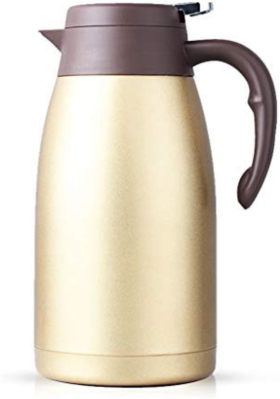 WYJW Pot d'isolation en Acier Inoxydable 304, Pot à jus Multifonctionnel pour cafetière à café avec Bouilloire sous Vide (Couleur  Or, Taille  2L)