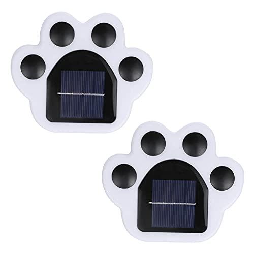 Baoblaze 2Pcs Solar Bodenbeleuchtung LED Hundepfote Solar Gartenleuchten Im Freien wasserdichte Helle Bodenleuchten für Rasenweg Hofeinfahrt - Weißes Licht