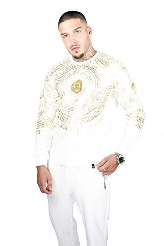AVENUE GEORGE V Paris Sweatshirt in Weiß mit großem Gold Print (L)