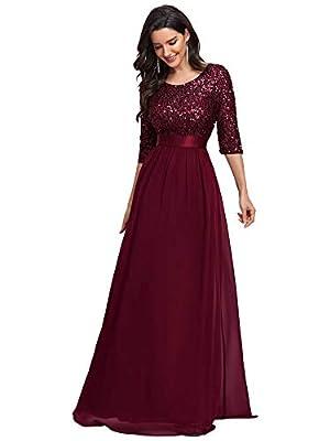 Ever-Pretty Evening Dress for Women Formal Long Bridesmaid Dress Burgundy US16