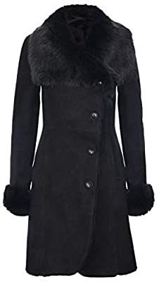 Infinity Leather Ladies Warm Black Suede Merino Shearling Sheepskin Coat with Toscana Collar M