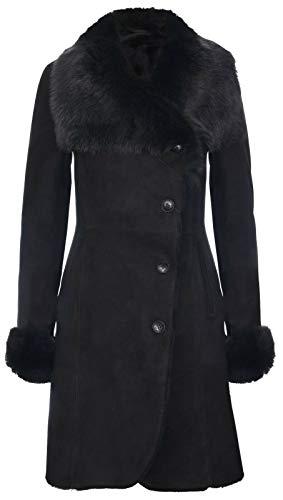 Infinity Leather Damen Warm Schwarz Suede Merino Shearling Schaffell Mantel mit Toscana Kragen L