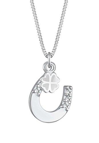 Elli Damen Schmuck Halskette Kette mit Anhänger Hufeisen Kleeblatt Glücksbringer Silber 925 Swarovski® Kristalle Weiß Länge 45 cm