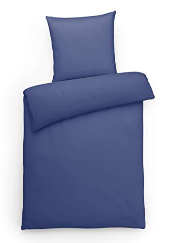 Carpe Sonno Elegante Jersey Bettwäsche 135 x 200 cm einfarbig Blaue Hotelbettwäsche mit Reißverschluss aus 100% Baumwolle - 2-teilige Bettwäsche Garnitur mit Kopfkissenbezug