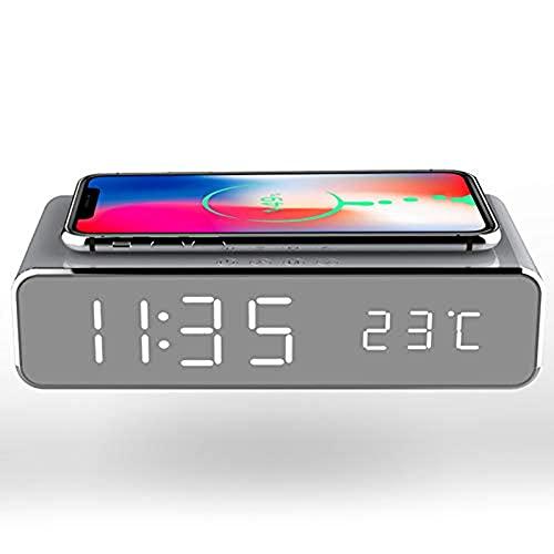 NINGYAN Reloj despertador inteligente LED con pantalla de temperatura y cargador inalámbrico para dormitorio, hogar y oficina (negro)