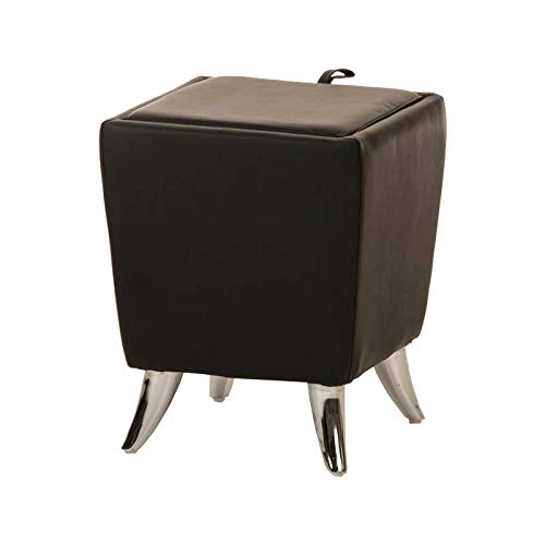 pouf contenitore nero 45x45 CLP Sgabello Roxy Vano Portaoggetti in Similpelle I Pouf Contenitore con Manico I Sgabello Basso 36x36 CM