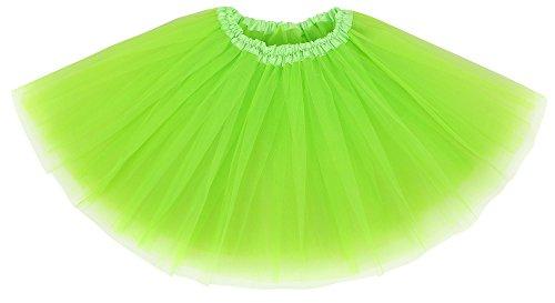 Simplicity Womens Tulle Ballet Tutu Skirt Running Marathons, Fluorescent Green