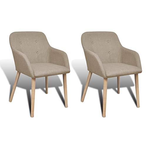 Zora Walter Esszimmerst¨¹hle 2er Set mit Eichenrahmen Stoff Beige Dining Room Chairs Set/Sessel Set for K¨¹Che,B¨¹ro,Lounge,Konferenzzimmer