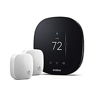 Ecobee EB-STATE3LTVP-01 Thermostat with 2 Room SmartThermostat & Room Sensors Black