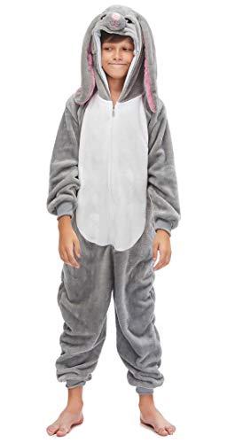 Silver Basic Niñas Niños Fleece One Piece Animal Pijamas Unicorn Tiger Disfraz de Fiesta de Halloween para Niños M,Conejo-5