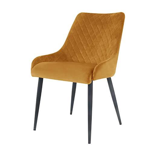 Damiware Bella Stuhl | Design Wohnzimmerstuhl Esszimmerstuhle Bürostuhl mit Stoffbezug | (Samt Ockergelb)