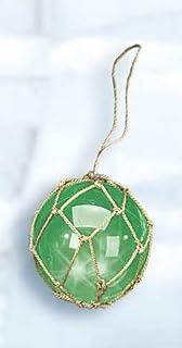 کالاهای قابل جمع آوری DRH - شناور شیشه ای ماهیگیری سبز ژاپنی بزرگ - توپ شناور شیشه ای آکوا با نور LED - دکوراسیون دریایی روشن با شناورهای توپی شده - هدیه شناور شیشه ای دریایی آویز عالی - 5 اینچ