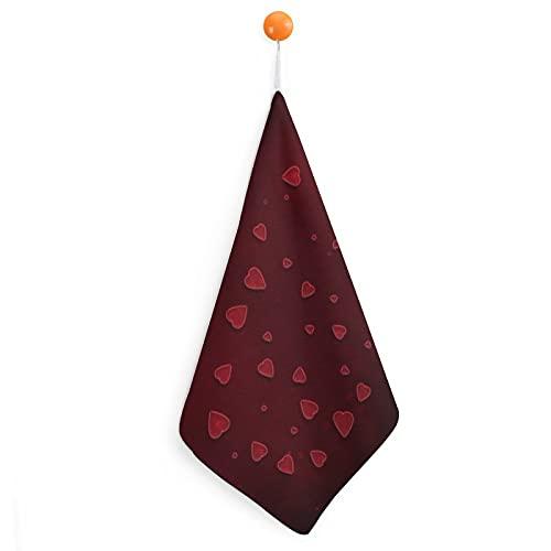 Toallas de mano con diseño de corazón, color rojo, de fibra superfina, ultra suaves y muy absorbentes, extra grandes, gruesas, 30 x 30 cm, toallas de cocina