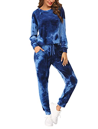 Hotouch Damen Sport Freizeit Pullover Hose Set Frühling 2 Teilig Samt Bauchweg Jacke Freizeithose Einfarbig