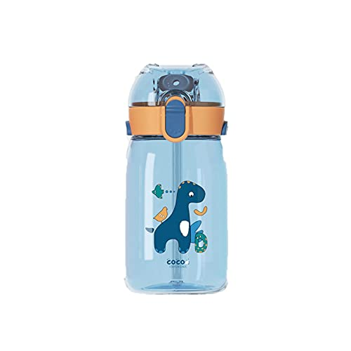 Jituan Taza de agua de dibujos animados taza de agua cubierta de rebote taza de paja niños taza de agua correa portátil doble uso práctico botella de deportes al aire libre (550 ml)