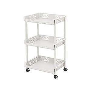 CLIPOP - Carrito de almacenamiento de plástico con ruedas, 3 niveles, para cocina, baño, sala de estar, oficina, color beige