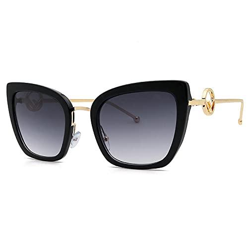 NBJSL Gafas de sol de ojo de gato de moda de metal para mujer Gafas de sol protectoras UV para mujer Embalaje de regalo exquisito