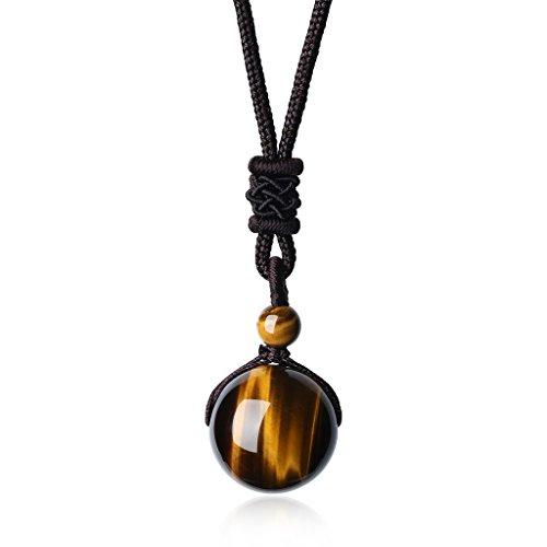 coai Unisex Edelstein Tigerauge Perle Anhänger Glückskette Verstellbare Halskette