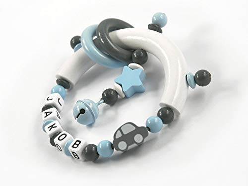 Greifling mit Namen Junge Auto Stern - Baby Geschenk Greifring zur Geburt Taufe personalisiert dunkelgrau, grau, hellblau, weiß (Greifring)