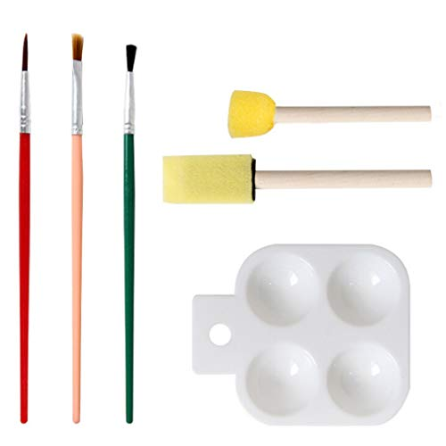 Iumer Painting Kits 6 Pcs Drawing Watercolor Sponge Brushes Tools Set with Acrylic Paint Palette Early DIY Learning