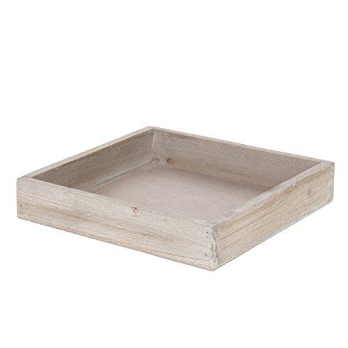 Plateau en bois – 20 x 20 x 4 cm – Marron clair – 6 pièces