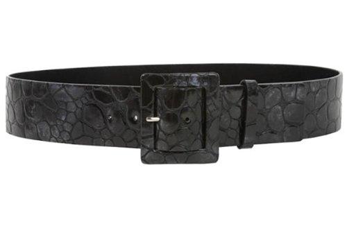 """21/2""""de ancho dos tonos cocodrilo patente de impresión de alta cintura Croco Piel cinturón - negro -"""