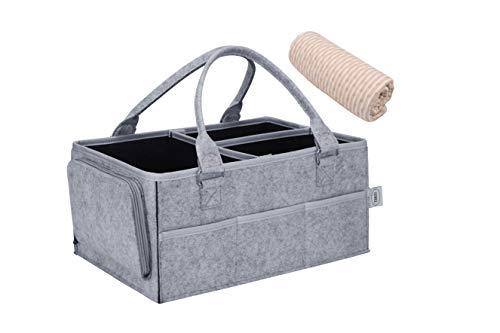 TERSY Baby-Wickeltasche, Organizer mit Wickelunterlage, größer, stärker und sicherer, grau, tragbar, mit austauschbaren Fächern, ideal für Babyzimmer