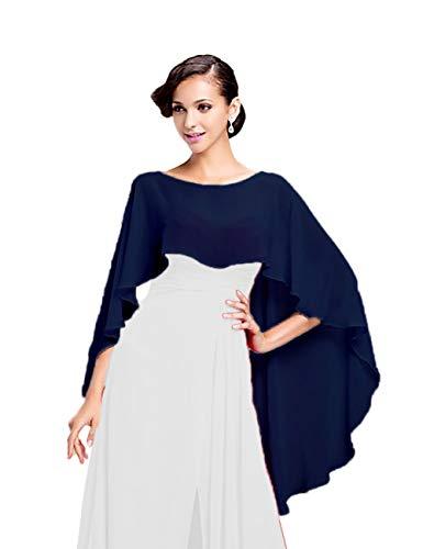 CoCogirls Chiffon Stola Schal für Kleider in verschiedenen Farben zu jedem Brautkleid - Abendkleid, Hochzeit Abend Gala Empfang (One-Size, Navy)