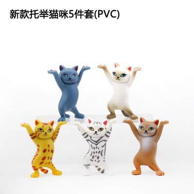 CYSJ 5 PCS figuritas de Gato realistas Mini, Adorno de Gato, Modelo de Gato Figuras de Gato Juguetes Playset Decoración de Topper, para Favores de Fiesta de niños, Muñecas Artesanías Decoración