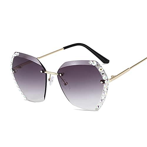 gafas de sol Gafas de sol sin montura de moda Mujeres grandes marco gafas de sol femenino verano estilo de viaje diamante negro rosa pantalones para damas (Lenses Color : Double Pink)