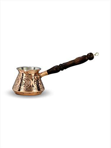Nurdanil Turkische Cezve - Dscheswe echte Gross Kupfer, Kaffeekannen Milchkanne Trauben bis 3 Tasse Mokka