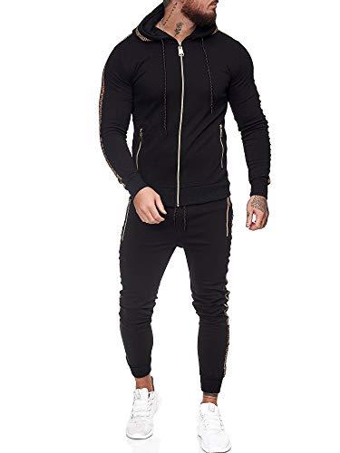 OneRedox | Herren Trainingsanzug | Jogginganzug | Sportanzug | Jogging Anzug | Hoodie-Sporthose | Jogging-Anzug | Trainings-Anzug | Jogging-Hose | Modell JG-1424 Schwarz XS