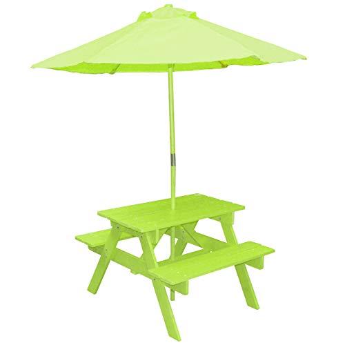 Lifetime Petit Salon DE Jardin + Parasol pour Enfant en Bois Decoration Exterieur Chambre Insolite Camping
