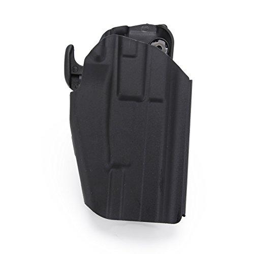Huntvp Funda de Pistola Táctica, Ajustable Pistola Holster MOLLE Gun Holster, Universal para Glock 17/ 18C/ 20/ 21/ 22/ 37 para Cinturón Hombres Caza Airsoft Paintball Outdoor,Negro