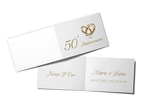 110 PZ Bigliettini Bomboniera 50° Anniversario Matrimonio Nozze d'Oro 50 Anni Matrimonio