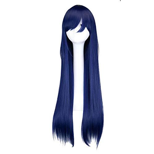 Jeu de rôle long et droit mélange bleu 80 cm haute perruque de soie perruque fashion tous les jours